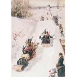 Posterazzi SAL900141484 Tobogganing Ca. 1850 Artist Unknown Lithograph Poster Print - 18 x 24 in.