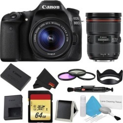 Canon EOS 80D DSLR Camera with 18-55mm Lens Bundle w/ 3 Piece Filter & Memory Kit + 24-70mm Lens (Intl Model)