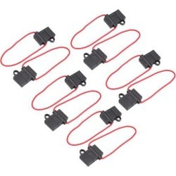 10pcs 12-24V Black Rubber H-Shape Cap Wired Inline Blade Fuse Holder for Car