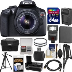 Canon EOS Rebel T6 Wi-Fi Digital SLR Camera & EF-S 18-55mm IS II Lens with 64GB Card + Case + Flash + Battery & Charger + Grip + Tripod + Kit