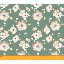 Soimoi Dressmaking 60 GSM Floral Printed Cotton Fabric For Sewing By The Meter 58 Inches Wide - Dusty Green