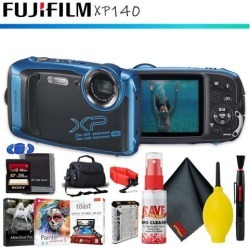 FUJIFILM FinePix XP140 Digital Camera (Sky Blue) + Memory Card Kit + Carrying Case + Floating Strap + Editing Software + Cleaning Kit