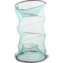 Unique Bargains 0.5 x 0.3 Nylon Metal Portable Fishing Landing Net Fish Angler Mesh Keepnet Crawfish Shrimp Green