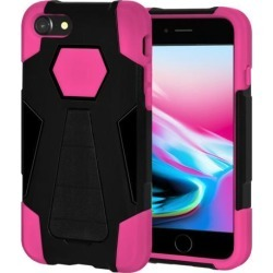Amzer Dual Layer Hybrid KickStand Case - Black/ Hot Pink for iPhone 8