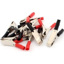 Unique Bargains 5 Pairs 30A Insulated Car Battery Alligator Clip Test Clamp Red Black