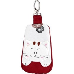 Lobster Clasp Zippered Cat Pattern Key Coin Card Holder Bag Purse Wallet Red