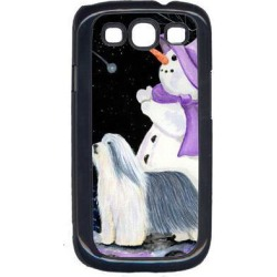 Snowman with Bearded Collie Cell Phone Cover GALAXY S111