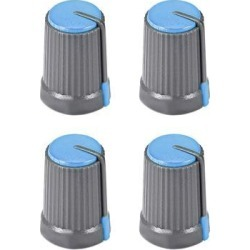 4Pcs Potentiometer Volume Control Knob Cap Plastic Blue 6mm Shaft Dia. Rotary Knob 12mm Dia. X 17mm Height