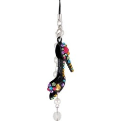 Unique Bargains Woman Black High-heeled Shoes Pendant White Beads Chain Mobile Phone Strap