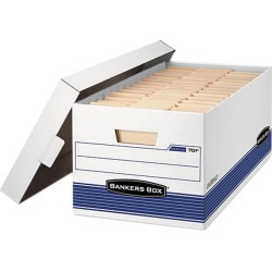 Bankers Box 0070205 Stor/File Storage Box, Legal, Locking Lid, White/Blue, 4/Carton