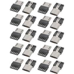 DIY Mini USB 5 Terminal Type Male Connector Silver Tone 20pcs