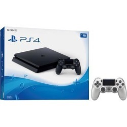 Playstation 4 Slim 1TB Jet Black Gaming Console Bundle With an Extra Silver DualShock 4 Wireless Controller