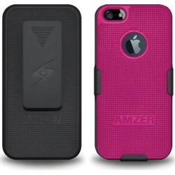 AMZER SHELLSTER SHELL CASE BELT CLIP HOLSTER COMBO FOR APPLE iPHONE 5, iPHONE 5S - BLACK/ HOT PINK