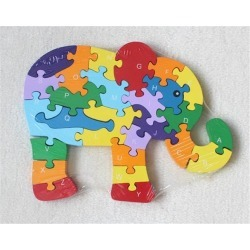 Puzzle Wooden Blocks Toys For Toddlers Children's Gift Of Ages 2-7(Elephant)