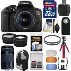 Canon EOS Rebel T6i Wi-Fi Digital SLR Camera & EF-S 18-55mm IS STM Lens with 55-250mm IS Lens + 32GB Card + Backpack + Tripod + Filters + Tele/Wide.