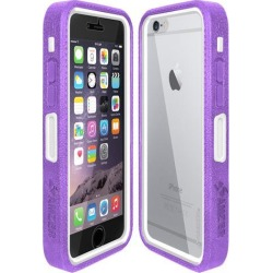 Amzer Purple on White Embedded Tempered Glass Rugged Case With Holster for Silver/Gold Apple iPhone 6 Plus / 6S Plus