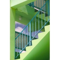 Hotel Staircase (vertical), Rockley Beach, Barbados Poster Print by Walter Bibikow (23 x 34)