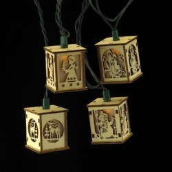 10-Count Brown Wooden Cut-Out Lanterns Novelty Christmas Light Set, 9ft Green Wire