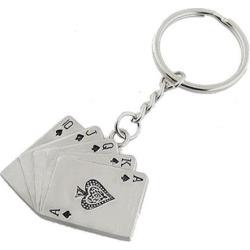 Unique Bargains Spades Poker Playing Card Silver Tone Metal Keyring