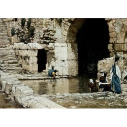 Posterazzi SAL9999173 Blind Man Washes in the Pool of Siloam James Tissot 1836-1902 French Poster Print - 18 x 24 in.