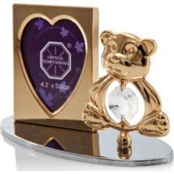 New Matashi CTFG3073 24K Gold Plated Adorable Teddy Bear Picture Frame Made with Genuine Matashi Crystal