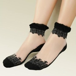 Womens Ankle Socks Ultrathin Transparent Crystal Lace Socks A White
