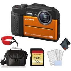 Panasonic Lumix Waterproof Digital Camera (Orange)- Bundle with 32GB Memory card + Floating Wrist Strap + LCD Screen Protectors and MORE