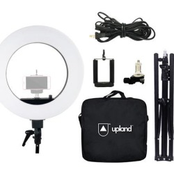"Upland 18"" LED Ring Light Kit, 55W 5500K Circle Light, with Adjustable Tripod Stand, Hot Shoe Adapter, Mobile Phone Holder, Carrying Bag, for Camera,"