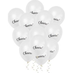 12 inch Latex Balloons Bulk Set 12 with 10M Ribbon for Party White