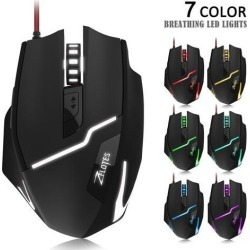 Zelotes Gaming Gamer Mouse [7200DPI High Precision],[Fire Button],[LED Breath Light] ZELOTES Ergonomic Wired Optical Computer Mice for.