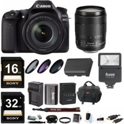 Canon EOS 80D DSLR Camera with 18-135mm f/3.5-5.6 with Slave Flash Bundle