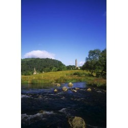 Posterazzi DPI1798571LARGE Round Tower & River in The Forest Glendalough Wicklow Mountains Republic of Ireland Poster Print by The Irish Image.