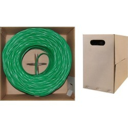 Cable Wholesale CAT5E UTP Bulk Cable Solid 350MHz 24 AWG - 1000 ft - Green