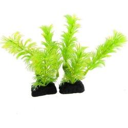 Unique Bargains Unique Bargains 2 Pcs Ceramic Base Green Leaves Plastic Plants 4.3 for Fish Tank