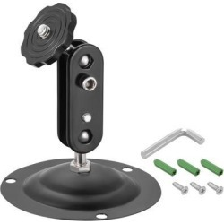 CCTV Camera Mount - Adjustable Indoor/Outdoor Camera Mounting Support 95mm Height Iron Black for Camera Home Surveillance System