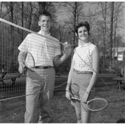 Posterazzi SAL255420783 Young Woman & Young Man Playing Badminton Poster Print - 18 x 24 in. found on Bargain Bro Philippines from Newegg Canada for $53.76