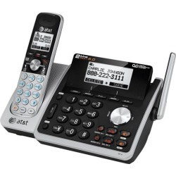 AT & T TL88102 DECT 6.0 2-Line Expandable Corded/Cordless Phone with Answering System, Silver/Black, 1 Handset