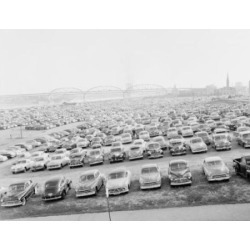 Posterazzi SAL255424622 USA St. Louis Large Parking Lot Along Mississippi River Macarthur Bridge in the Background Poster Print - 18 x 24 in.