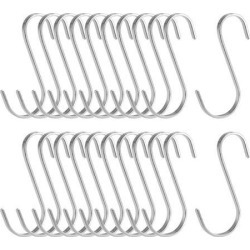 Stainless Steel S Hooks 3.6' Flat S Shaped Hook Hangers for Kitchen Bathroom Bedroom Storage Room Office Outdoor Multiple Uses 20pcs