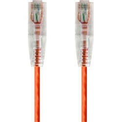 Monoprice Cat6 Ethernet Patch Cable - 5 feet - Orange Snagless RJ45 Stranded 550MHz UTP CMR Riser Rated Pure Bare Copper Wire 28AWG - SlimRun Series