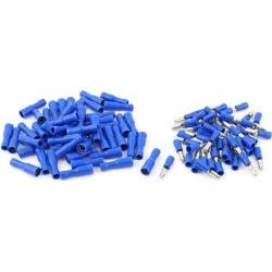 Unique Bargains 50 Pair 22-16 AWG Cable Cord Connecting Male Female Bullet Crimp Terminals Blue