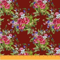Soimoi Floral Printed Sewing Material 58 Inches Wide Cotton Poplin Fabric Supplies By The Meter-Brown