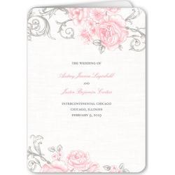 Wedding Program Cards: Antique Rose Scrolls Wedding Program, Pink, 5x7 Folded Program