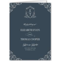 Wedding Program Cards: Classic Herald Wedding Program, Blue, 5x7 Folded Program