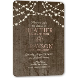 Wedding Invitations: Glowing Celebration Wedding Invitation, Rounded Corners, Brown, 5x7 Digital Foil Card found on Bargain Bro from shutterfly.com for USD $3.93