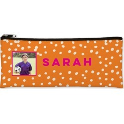 Pencil Cases: Active Dots Pencil Case, Orange