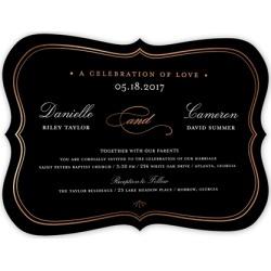 Wedding Invitations: Celebration Of Love Wedding Invitation, Bracket Corners, rosegoldfoil, 5x7 Flat Card found on Bargain Bro from shutterfly.com for USD $40.05