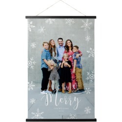 Hanging Canvas Prints: Merry Snowflakes Hanging Canvas Print, HANGING_CANVAS_BLACK, HANGING_CANVAS_20X30, White found on Bargain Bro from shutterfly.com for USD $53.18