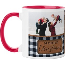 Mugs: Leather Patch Plaid Mug, Red, 11oz, Blue, Ceramic Mug found on Bargain Bro India from shutterfly.com for $18.99