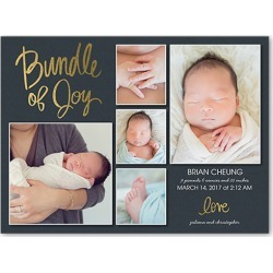 Birth Announcement: Bundle Of Joy, Square Corners, Goldfoil found on Bargain Bro India from shutterfly.com for $36.90